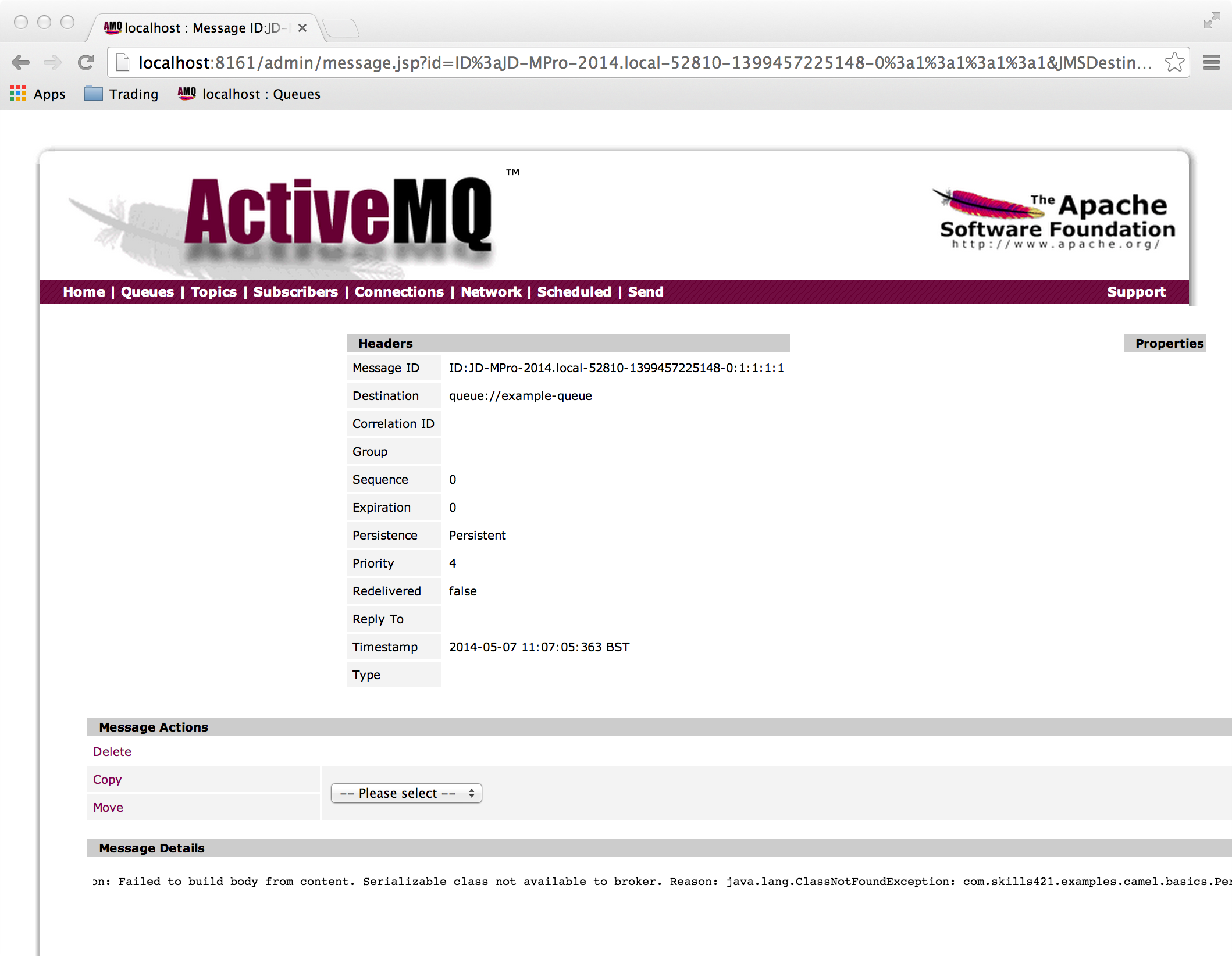 Send JMS Object Message to ActiveMQ